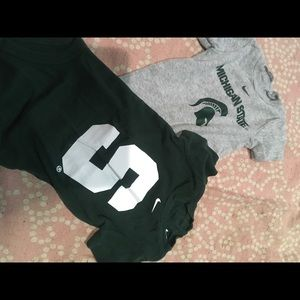 2 nike michigan state onsies size 6/9 months